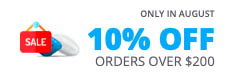 10% off on orders over $200