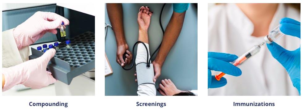 compounding, screenings, immunizations
